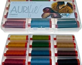AURIFIL Set of 12 MAKO 50 Wt  Chestnut Fall Autumn Collection Quilting Thread