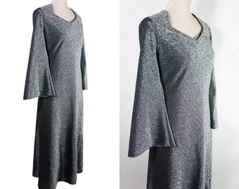 Vintage Maxi Dress Party Disco 70s. Silver Dress.  Swarovsky details around neckline. Bell sleeve. Floor length. L size.