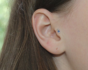 Tragus Stud, Silver tragus earring, Cartilage earring, Helix piercing, Conch jewelry stud, Tragus piercing, Forward helix stud