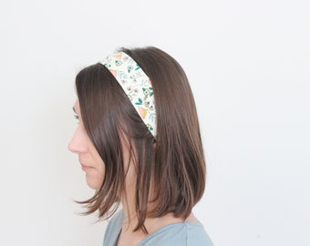 Headband - Organic Cotton Jersey  - Colorful Spring Bird Pattern