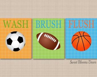 Sports Bathroom DecorKids Wall ArtSoccer Football Basketball Decor