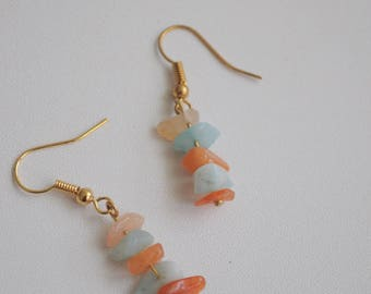 With brass hook earrings made with orange Jade and Amazonite semi-precious stones