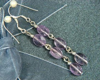 "Earrings 3X Amethyst 2.2"" 8mm Facet Ovals 925 ESAT1399"