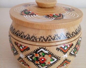Vintage wooden box, Round box, Storage box, Ukrainian style, Handmade box, Box for jewelry, Ukrainian souvenir, Ukrainian gift, Salt cellar