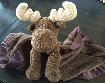 Security Blanket, Lovie, Max the Moose with Satin Binding, Ultra Soft