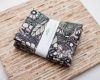 Large Cloth Napkins - Set of 4 - (N4807) - Pink Gardenia Flower Modern Reusable Fabric Napkins