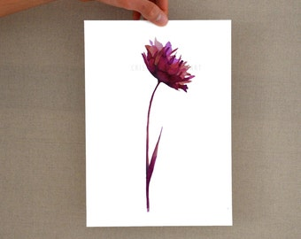 Watercolor floral art print, flower wall art, glicee print, flower print decor, abstract flower print, modern flower, minimal flower print