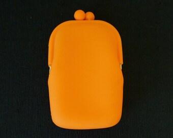 Rubber Coin Purse; Tangerine Orange; Approx. 4 x 6 Inches; Retro Chic !!!