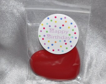 Heart Crayons and Stickers.  20 Happy Birthday Sticker and 20 Heart Crayons. Happy Birthday Crayons.