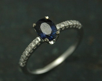 Sapphire Ring~Diamond Ring~Sapphire and Diamonds~Blue Sapphire~Oval Sapphire~Sapphire Stars~White Gold Sapphire Ring~Modern Sapphire Ring