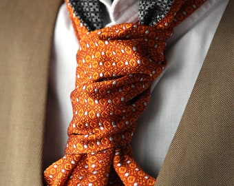 Mens Ascot Mens Cravat Printed Silk Day Cravat Reversible Ascot Tie A009