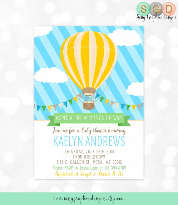Hot air balloon baby shower invitation baby boy blue yellow hot air balloon baby shower invitation baby boy blue yellow charming whimsical invitation diy printable invite pdf item 163 filmwisefo Image collections
