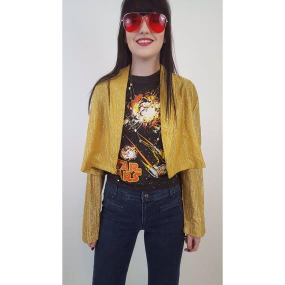 70s Vintage Gold Light Jacket - Small/Medium Metallic Golden Open Layer - Sparkle Glitter Shiny Short Open Women's Vintage Jacket