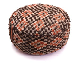 Moroccan Pouf, Floor Cushion, Berber Kilim Pouf Ottoman, Floor Pillow, Foot Stool, Refashioned from a Vintage Berber Rug. PVR031