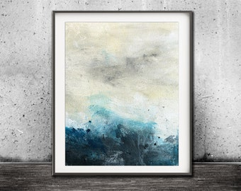 Digital print instant download abstract landscape abstract print painting blue art wall decor modern design poster artwork horizon