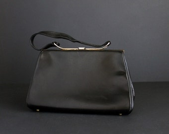 Vintage Black Leather Handbag By Elite Handbags One Strap Handle Purse