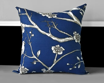 Pillow Cover - Dwell Studio Vintage Blossom Twilight, Navy Blue