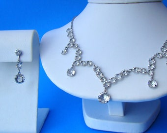 1930's Deco Crystal White Gold Filled Bridal Necklace & Earrings Set