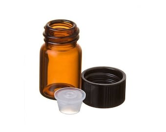 Set of 10 5/8 Dram Mini Amber Glass Vial Bottles with Dropper and Cap 2ML for Essential Oil Fragrance Oil Samples