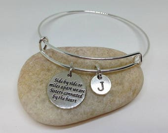Soul Sister Bangle Sister Side by Side or Miles Apart We are sisters connected by the heart Bracelet, Sister Bangle, Personalized bracelet