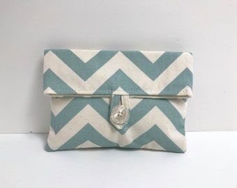 Blue Chevron Makeup Bag