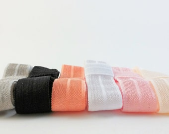 3 Headbands Bundle - Set of 3 Headbands - Gray Coral Black White Ivory Pink Headbands - Stretchy Headband - Fold Over Elastic Headband