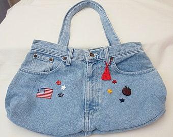 Repurposed Sonoma Faded Blue Jeans Purse/Bag