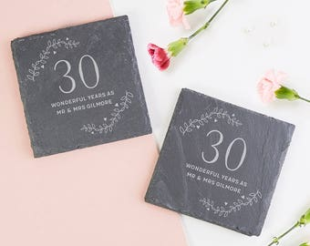 Personalised Gift for Anniversary Slate Coaster