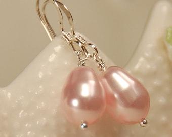 Pink Pearl Earrings, Rosaline Swarovski Elements Pearl Earring, Bridesmaid Jewelry, Single Pink Pearl Sterling Silver Earring, Pear Pearl