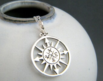 large silver compass necklace. simple everyday jewelry sterling silver pendant starburst rose points directions travel traveler gift for her