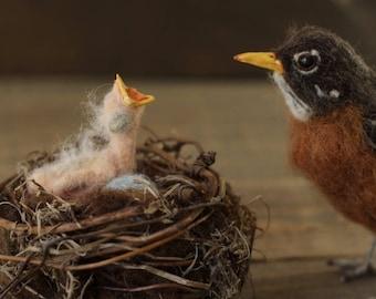 Robins nest, Mother's day gift, Bird nest, Robins eggs, Bird nest art, Baby bird, Needle felted nest