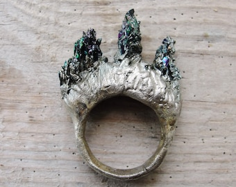 Carborundum Stone Ring, Electroformed Rainbow Druzy Ring Hand formed Fine Silver Statement jewelry