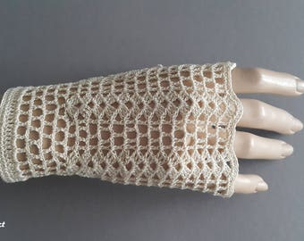 Crochet Mittens, Fingerless Gloves,Ivory, 100% Mercerized Cotton.