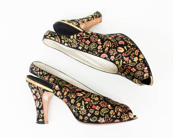 40s Size 5.5 Black Silk Satin Floral Pumps | Peep Toe Slingback Heel Shoes | Hand Painted