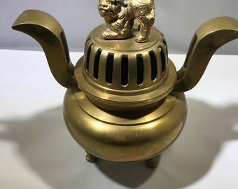 Vintage Brass Foo Dog / Foo Lion Incense Burner