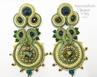 Long Soutache Earrings, Soutache Earrings, Fashion  Earrings, Earrings Handmade, Crystals Stud Earrings, Gift For Her