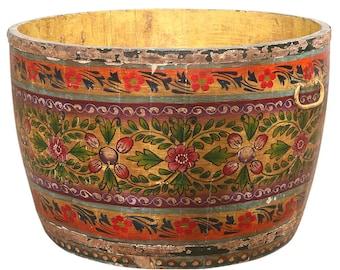 Vintage Beautifully Painted Bucket, Painted Planter, Rustic Planter, Vintage Planter, Carved Planter, Grain Bucket Planter, Indian Planter