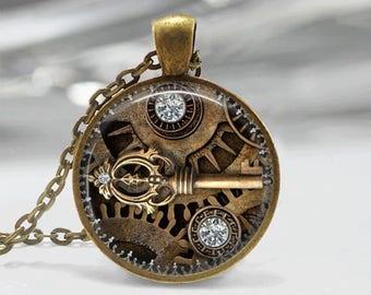 Glass Tile Necklace Steampunk Necklace Brass Jewelry Glass Tile Jewelry Key Necklace Key Jewelry Steampunk Jewelry