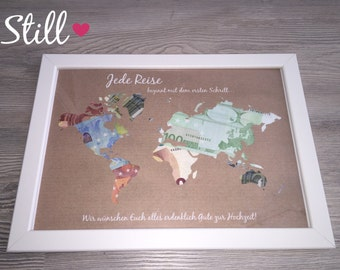 Money gift * map * vintage wedding