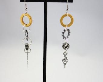 Steam Punk Dangle Earrings, Handmade Jewelry, Gifts Under 25, Gears, Cogs, Clock Hands
