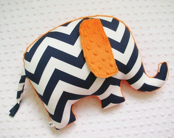 Chevron Elephant Pillow, nursery decor, elephant nursery decor, baby shower gift, navy and orange, safari nursery, boy nursery
