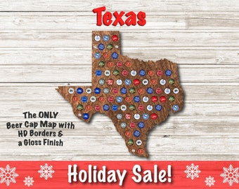 Texas Beer Cap Map | With Standoffs | State Beer Cap Map | Bottle Cap Map | Gifts For Him | Christmas Gift