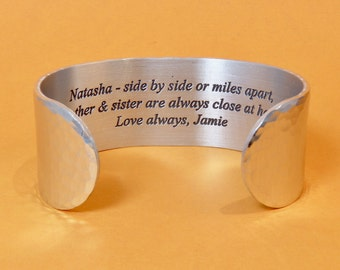 Brother to Sister Gift ~ (personalized) - side by side or miles apart, brother & sister are always close at heart. - Gift for Sister
