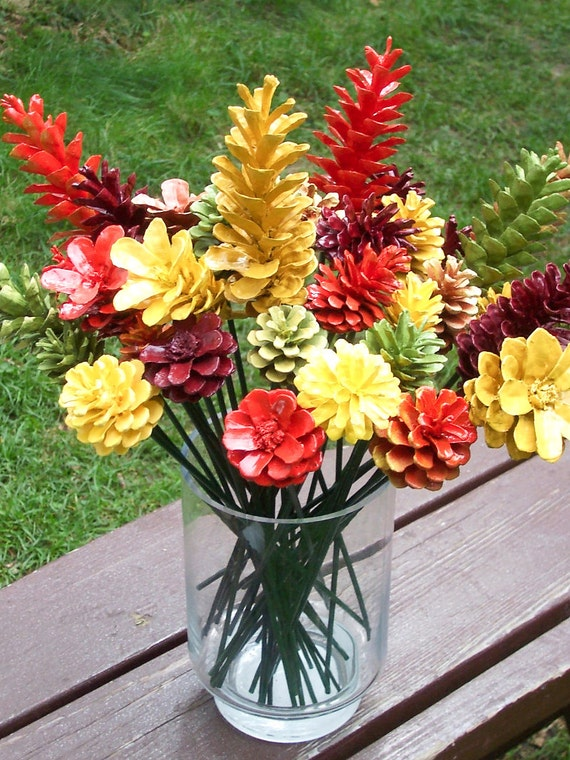 Fall pine cone flowers on inch stems thanksgiving decor