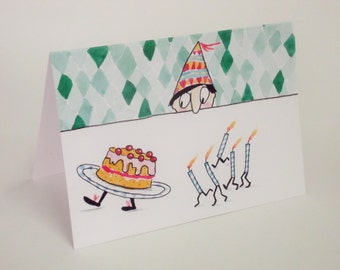 Individual blank birthday card with white envelope.