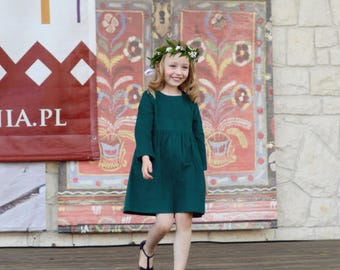 Green Girls Dress, Corduroy, Bottom Frill, Long Sleeve