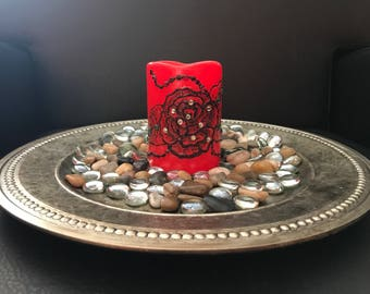 Red Rose Flameless Henna Candle