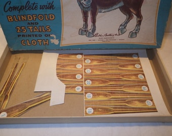Vintage 1950's Parker Brothers Donkey Party Game / Pin The Tail on the Donkey Party Game