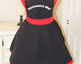 Sassy Black and Red Apron - Customize Me!