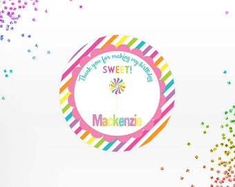 Candy Lollipop Labels - Candy Thank you Stickers - Candy Birthday Party Tags - Rainbow Party Labels - Lollipop Labels - Digital File